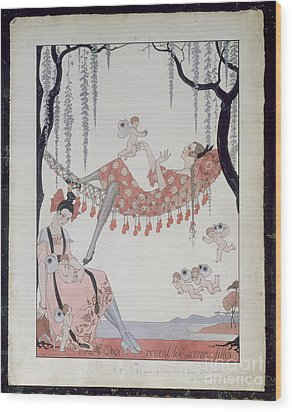 What Do Young Women Dream Of? Wood Print by Georges Barbier