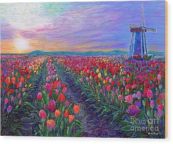 Tulip Fields, What Dreams May Come Wood Print by Jane Small