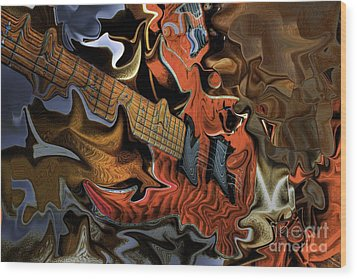 What Happened Last Night Digital Guitar Art By Steven Langston Wood Print by Steven Lebron Langston