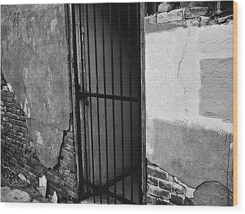 Wood Print featuring the photograph What Horrors Lie Beyond This Entrance - Bw by Trever Miller