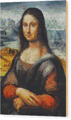 Wood Print featuring the painting What If Vincent Van Gogh Had Painted Mona Lisa? by Kai Saarto