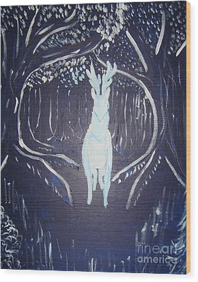 What Walks These Woods Wood Print by Wendy Coulson