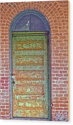 What's Behind The Green Door Wood Print by Larry Bishop