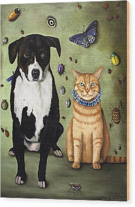 What's Bugging Luke And Molly Wood Print by Leah Saulnier The Painting Maniac