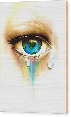 What's In A Tear? Wood Print by Andrea Carroll