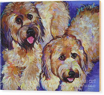 Wood Print featuring the painting Wheaten Terriers by Robert Phelps