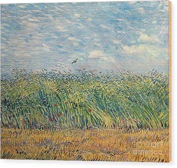 Wheatfield With Lark Wood Print by Vincent van Gogh