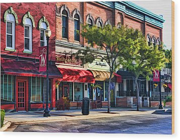 Wheaton Front Street Store Fronts Wood Print by Christopher Arndt