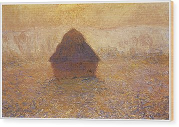 Wheatstack Sun In The Mist Wood Print by Claude Monet