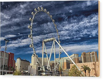Wheel In The Sky Las Vegas Wood Print
