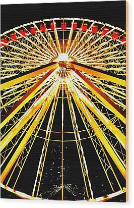 Wheel Of Light Wood Print by Benjamin Yeager