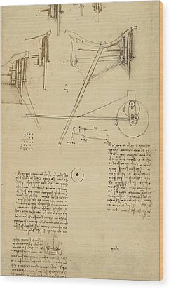 Wheels And Pins System Conceived For Making Smooth Motion Of Carts From Atlantic Codex Wood Print by Leonardo Da Vinci