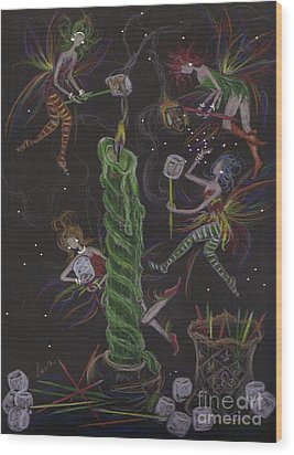 When Marshmallows Glow Wood Print by Dawn Fairies