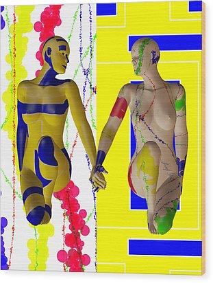 When Modern Met Abstract  Wood Print by Sir Josef - Social Critic -  Maha Art