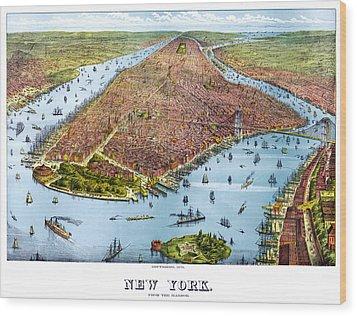 When New York Was Flat Wood Print by Georgia Fowler