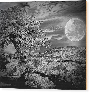 Wood Print featuring the photograph When The Moon Comes Over Da Mountain by Robert McCubbin
