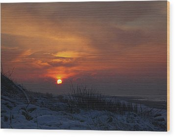 Wood Print featuring the photograph When The Sun Goes Down  by Annie Snel