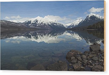 When The Sun Shines On Glacier National Park Wood Print
