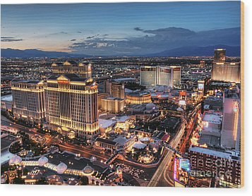 When Vegas Comes To Life Wood Print by Eddie Yerkish