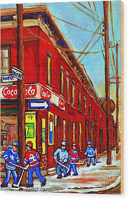 When We Were Young - Hockey Game At Piche's - Montreal Memories Of Goosevillage Wood Print by Carole Spandau