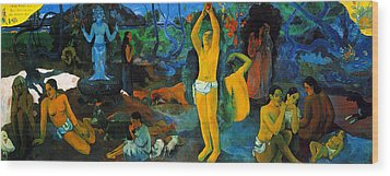 Where Do We Come From. What Are We Doing. Where Are We Going Wood Print by Paul Gauguin
