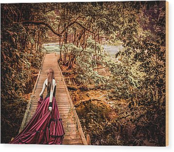Where Is The Bridge Going? Wood Print by Catherine Arnas