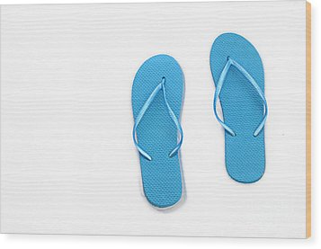 Where On Earth Is Spring - My Blue Flip Flops Are Waiting Wood Print by Andee Design