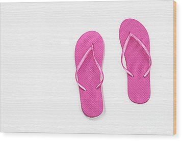 Where On Earth Is Spring - My Hot Pink Flip Flops Are Waiting Wood Print by Andee Design