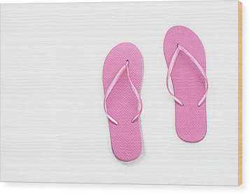 Where On Earth Is Spring - My Pink Flip Flops Are Waiting Wood Print by Andee Design