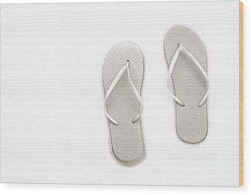 Where On Earth Is Spring - My Silver Flip Flops Are Waiting Wood Print by Andee Design