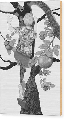 Wood Print featuring the digital art Where The Best Apples Are by Carol Jacobs