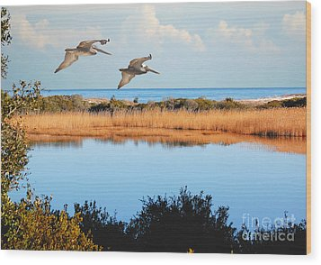 Where The Marsh Meets The Atlantic Wood Print