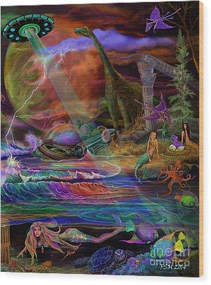 Where The Mermaids Meet Wood Print by Frances McCloskey