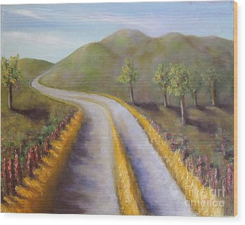 Autumn Road Wood Print by Laurie Morgan