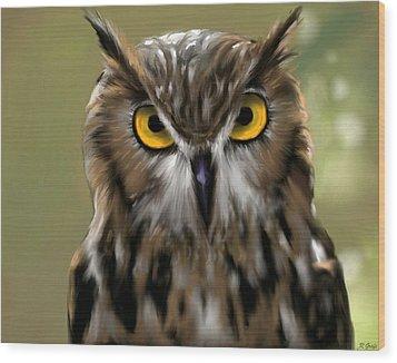 The Gaze Of An Owl - Where's My Dinner?  Wood Print