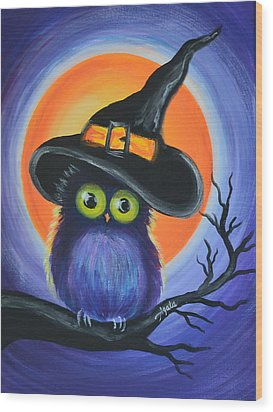 Wood Print featuring the painting Owl Spook You by Agata Lindquist
