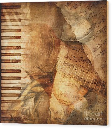 While My Guitar Gently Weeps Wood Print by Lianne Schneider