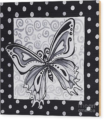 Whimsical Black And White Butterfly Original Painting Decorative Contemporary Art By Madart Studios Wood Print by Megan Duncanson