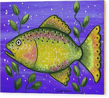 Whimsical Folk Art Fish Wood Print by Sandra Estes