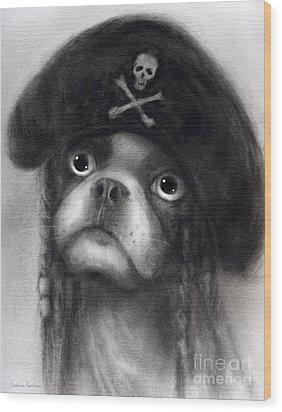 Whimsical Funny French Bulldog Pirate  Wood Print by Svetlana Novikova