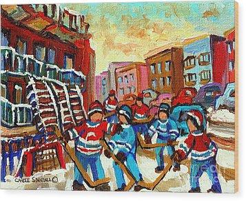 Whimsical Hockey Art Snow Day In Montreal Winter Urban Landscape City Scene Painting Carole Spandau Wood Print by Carole Spandau