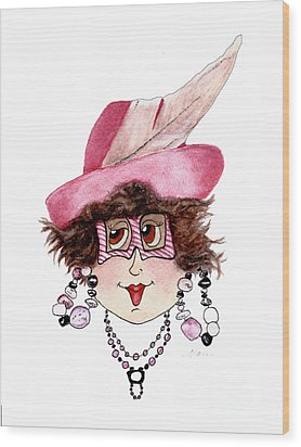 Whimsical Lady In Pink Wood Print