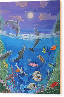 Whimsical Original Painting Undersea World Tropical Sea Life Art By Madart Wood Print by Megan Duncanson