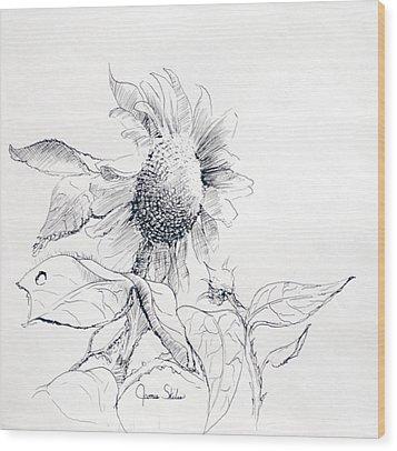 Whimsical Sunflower  Wood Print by James Skiles