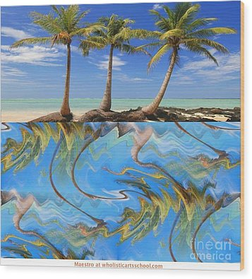 Whimsical Tropics Wood Print by PainterArtist FIN