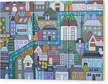 Whimsical Village Wood Print