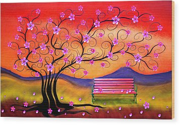 Wood Print featuring the digital art Whimsy Cherry Blossom Tree-1 by Nina Bradica