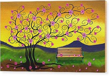 Wood Print featuring the digital art Whimsy Cherry Blossom Tree-2 by Nina Bradica