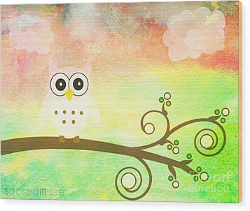 Whimsy Owl Kids Art Wood Print by Sacred  Muse