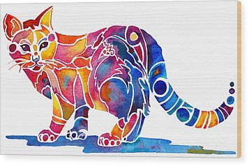Whimzical Calico Kitty Wood Print by Jo Lynch
